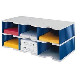 styro Sortierstation Styrodoc Jumbo Grundeinheit grau/blau mit 6 Fächern