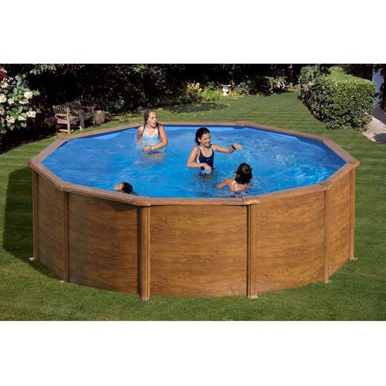 Summer Fun Stahlwand Pool-Set Holz-Dekor RHODOS Aufstellb. rund Ø 460 x 120cm