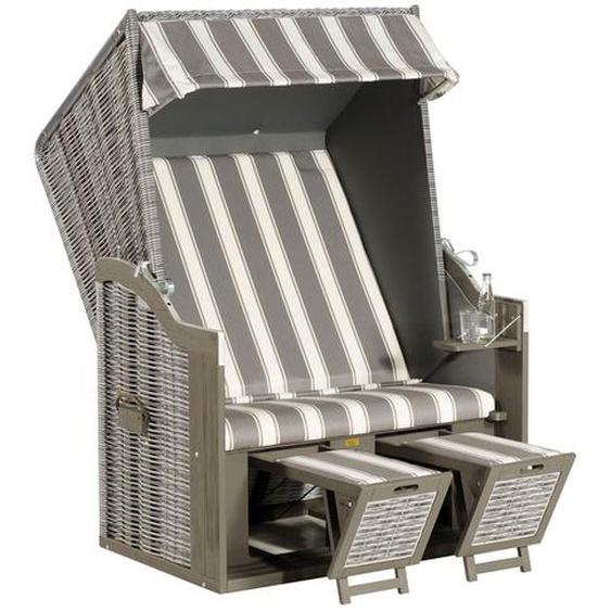 SUNNY SMART Rustikal 30 Z Strandkorb, Pinienholz/Geflecht, grau/onix 1214, inkl. klappbarem Seitentisch und Auflagen, verstellbar