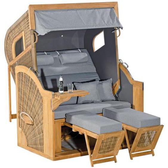 SUNNY SMART Rustikal 405 Z Comfort XL Strandkorb, Pinienholz/Geflecht, antik-braun 1222, inkl. seitl. Fenster und Rückholfedern
