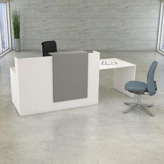 SUNSET I | Kompakt-Theke mit Besprechungsplatz - Weiß/Grau