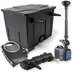 SunSun 1-Kammer Filter Set für 12000l mit 24W UVC Teich Klärer NEO7000 50W Pumpe Springbrunnen - WILTEC