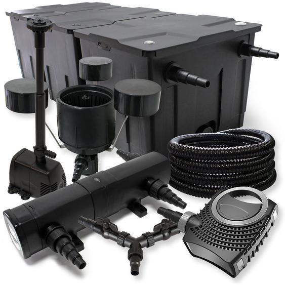SunSun Filter Set 90000l Teich 24W Teichklärer NEO10000 80W Pumpe 25m Schlauch Skimmer Springbrunnen - WILTEC