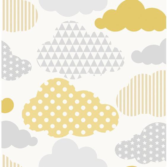 Superfresco Easy  Vliestapete  Wolken Gelb / Grau