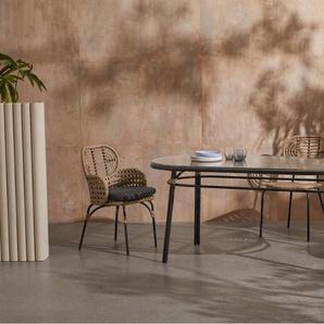 Swara ovaler Gartentisch, Polyrattan in Schwarz und Natur und Glas
