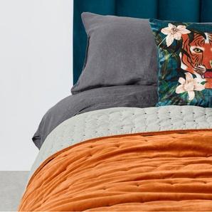 Syrah 100% Cotton Velvet Bedspread. 225x220cm, Burnt Orange