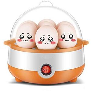 SZH Eierkocher, Schnellkocher Mit 7 Eiern, Messbecher Und Dampfschüssel, Elektrischer Eierkocher Für Hartgekochte Eier, Pochierte Eier, Omeletts, Automatische Abschaltung (Orangeweiß)