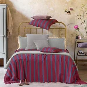 Tagesdecke bordeauxrot-blau - Blau/Bordeauxrot - 100 % Baumwolle - Tagesdecken & Quilts - Überwürfe & Sofaüberwürfe
