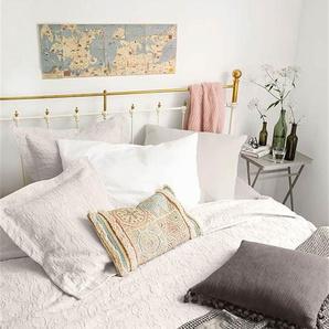 Tagesdecke Renascena lichtgrau - bunt - 100 % Baumwolle - Tagesdecken & Quilts - Überwürfe & Sofaüberwürfe