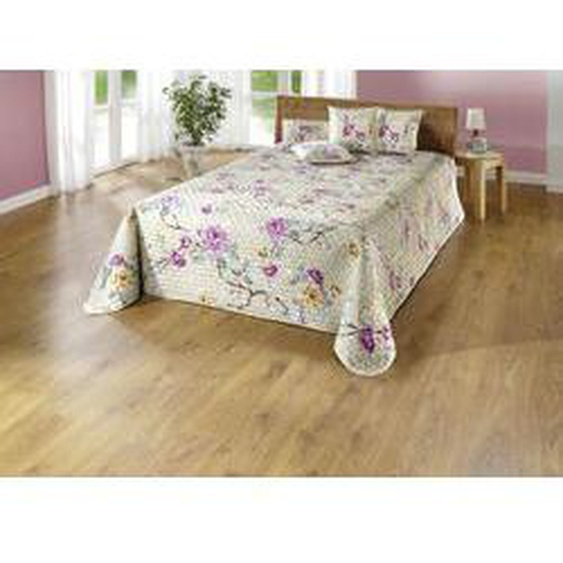 Tagesdecke und Kissenbezüge mit Blütenranken, Größe 873 (für Einzelbett, 135x210 cm), Bunt