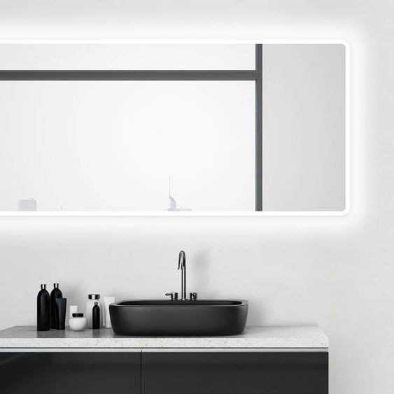 Talos Badspiegel Moon, 160 x 70 cm, Design Lichtspiegel Einheitsgröße silberfarben und Spiegelschränke Badmöbel Badaccessoires SOFORT LIEFERBARE Möbel