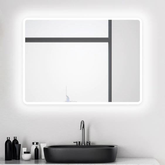 Talos Badspiegel Moon, 80 x 60 cm, Design Lichtspiegel Einheitsgröße silberfarben und Spiegelschränke Badmöbel Badaccessoires SOFORT LIEFERBARE Möbel