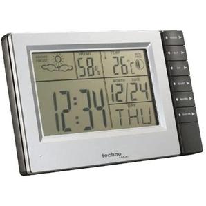 technoline »WS 9121« Wetterstation (mit Vorhersage von Wettersituation, Temperatur Luftfeuchte, Innentemperatur und Mondphasenanzeige, Hygrometer, Quarzuhr, Monduhr, Wecker, silber/grau)