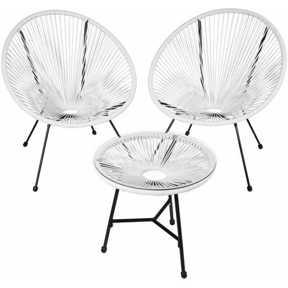 2 Gartenstühle Gabriella mit Tisch - Gartensessel, Gartengarnitur, Balkonstühle - weiß