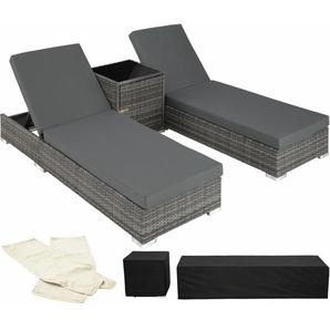 2 Sonnenliegen Rattan mit Aluminiumgestell und Tisch inkl. Schutzhülle - Gartenliege, Liegestuhl, Relaxliege - grau - TECTAKE