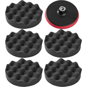 Tectake 5 Polierschwämme 150mm gewaffelt inkl Rotationsteller schwarz