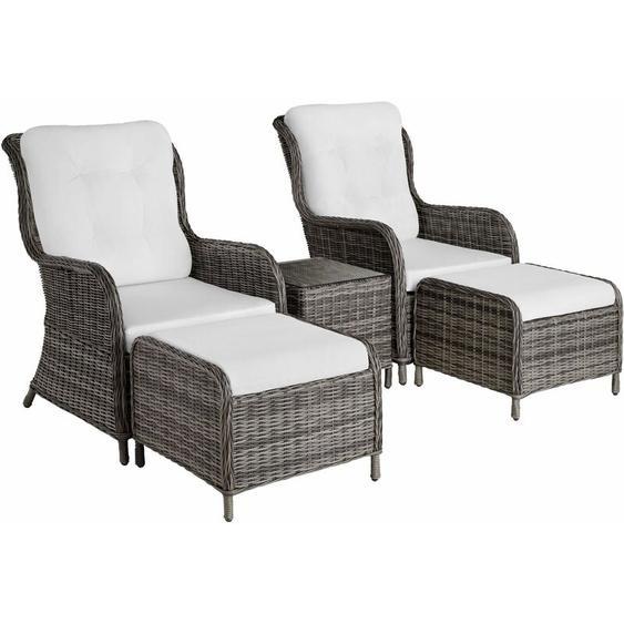 Aluminium Rattan Sitzgruppe Benissa - Gartenlounge, Terrassenmöbel, Rattan Lounge - grau
