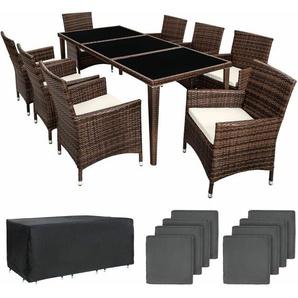 Aluminium Rattan Sitzgruppe Monaco 8+1 mit Schutzhülle - Gartenlounge, Terrassenmöbel, Rattan Lounge - schwarz/braun - TECTAKE