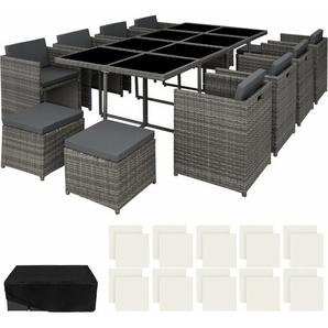 Rattan Sitzgruppe New Orleans - Gartenlounge, Terrassenmöbel, Rattan Lounge - grau - TECTAKE