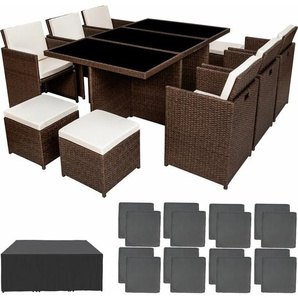 Aluminium Rattan Sitzgruppe New York 6+4+1 mit Schutzhülle - Gartenlounge, Terrassenmöbel, Rattan Lounge - antikbraun - TECTAKE