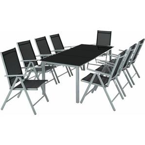 Aluminium Sitzgruppe 8+1 - Gartentisch, Gartenstuhl, Sitzbank - hellgrau - TECTAKE