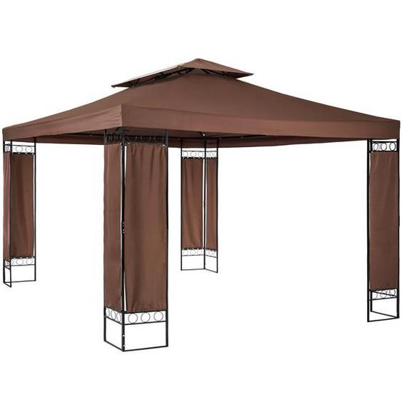 Tectake Luxus Gartenpavillon Leyla 390 x 290cm braun