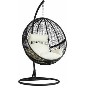Rattan Hängesessel mit Gestell inkl. Kissen - Sitzhängematte, Hängematte, Hängestuhl - schwarz - TECTAKE