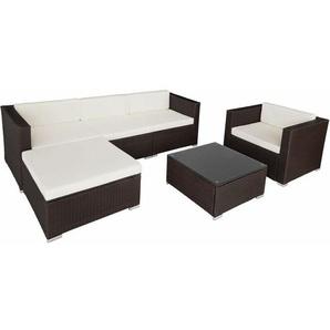 Rattan Lounge mit Stahlgestell Milano - Loungemöbel, Gartenmöbel, Gartengarnitur - braun - TECTAKE