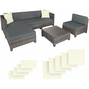 Rattan Lounge mit Aluminiumgestell inkl. Bezüge in 2 Farben - Loungemöbel, Gartenmöbel, Gartengarnitur - grau - TECTAKE