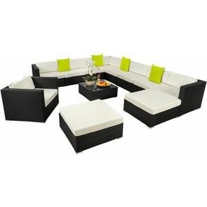 Rattan Lounge mit Aluminiumgestell Las Vegas - Gartenlounge, Terrassenmöbel, Rattan Lounge - schwarz - TECTAKE