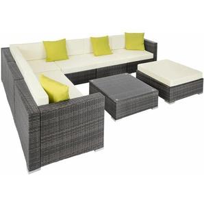 Rattan Lounge mit Aluminiumgestell Marbella - Gartenlounge, Terrassenmöbel, Rattan Lounge - grau - TECTAKE