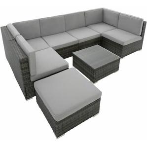 Rattan Lounge mit Stahlgestell Venedig - Gartenlounge, Terrassenmöbel, Rattan Lounge - grau - TECTAKE