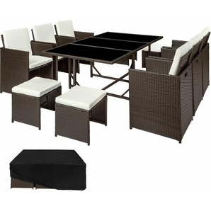 Rattan Sitzgruppe Malaga 6+4+1 mit Schutzhülle, Variante 2 - Gartenlounge, Terrassenmöbel, Rattan Lounge - antikbraun - TECTAKE