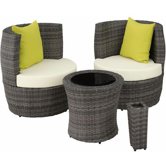 Rattan Sitzgruppe Nizza - Gartenlounge, Terrassenmöbel, Rattan Lounge - grau