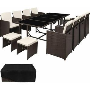 Rattan Sitzgruppe Palma 8+4+1 mit Schutzhülle, Variante 2 - Gartenlounge, Terrassenmöbel, Rattan Lounge - antikbraun - TECTAKE