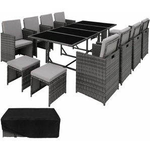 Rattan Sitzgruppe Palma 8+4+1 mit Schutzhülle, Variante 2 - Gartenlounge, Terrassenmöbel, Rattan Lounge - grau - TECTAKE