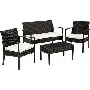 Rattan Sitzgruppe Sparta 3+1 - Gartenlounge, Terrassenmöbel, Rattan Lounge - schwarz - TECTAKE