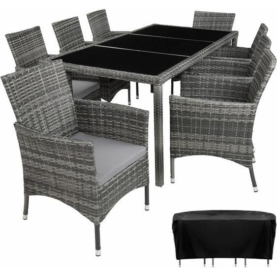 Rattan Sitzgruppe Valencia 8+1 mit Schutzhülle - Gartenlounge, Terrassenmöbel, Rattan Lounge - grau