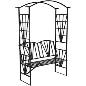 Tectake Rosenbogen mit Sitzbank 210 cm schwarz