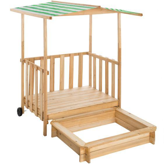 Tectake Sandkasten und Spielveranda mit Dach Gretchen grün