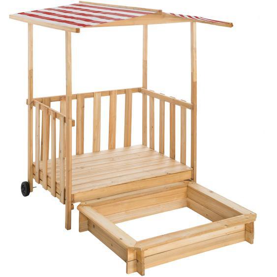 Tectake Sandkasten und Spielveranda mit Dach Gretchen rot