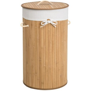 Tectake Wäschekorb mit Wäschesack rund beige