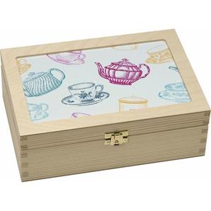 Teebox »Tassen/Kannen grafisch«, braun, L/B/H, Contento