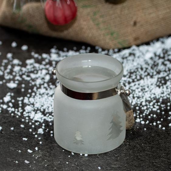 Teelicht als Glas, Weiß, Baum, Windlicht im Weihnachtslook, Teelichthalter