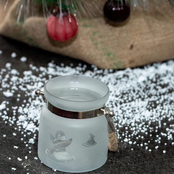 Teelicht als Glas, Weiß, Engel, Windlicht im Weihnachtslook, Teelichthalter