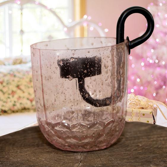 Teelichtglas und Einsatz, pink, Gekrakeltes Glas, Weihnachten, Advent