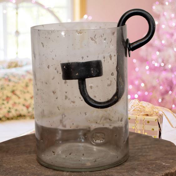 Teelichtglas und Einsatz, schwarz, Gekrakeltes Glas, Weihnachten, Advent