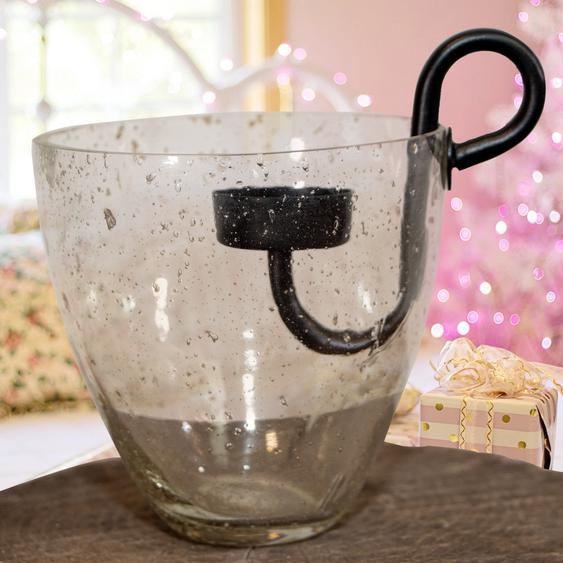 Teelichtglas und Einsatz, weiß, Gekrakeltes Glas, Weihnachten, Advent