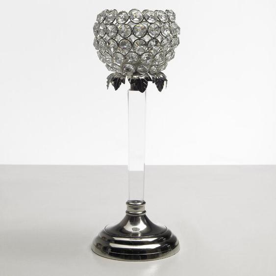 Teelichthalter aus Aluminium / Glaskristalle