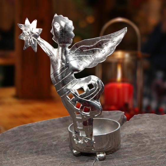 Teelichthalter Engel, Metall silber lackiert, Weihnachtsdeko
